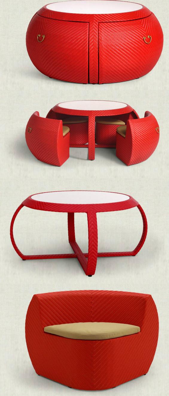 """鼓可以说是中国最早出现的乐器,据考古资料显示,中国最早的鼓应可以追溯到公元前3300年到公元前2100年的马家窑文化出土的""""土鼓""""。潘杰( )设计的这套名为""""古韵""""的藤制餐桌椅灵感源于中国的鼓,收拢时是一面完整的鼓,饱满圆润,可以节省空间;打开之后是四把座椅和一张桌子。"""