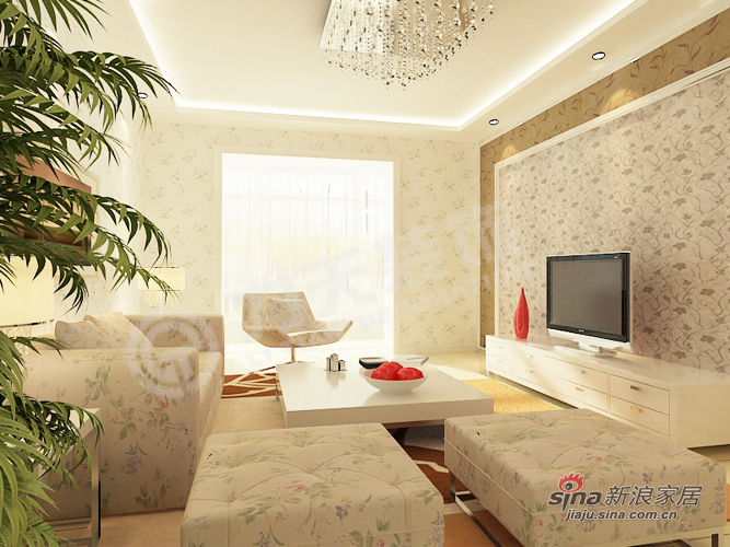 田园 二居 客厅图片来自阳光力天装饰在新世纪花园B户型96.86㎡田园风格73的分享
