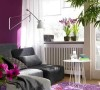 夫妻67平紫色时尚小宅空间67