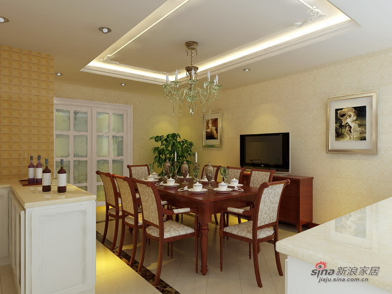 欧式 三居 餐厅图片来自用户2745758987在尽显欧式温馨简洁、高贵大方的136平简欧风格58的分享