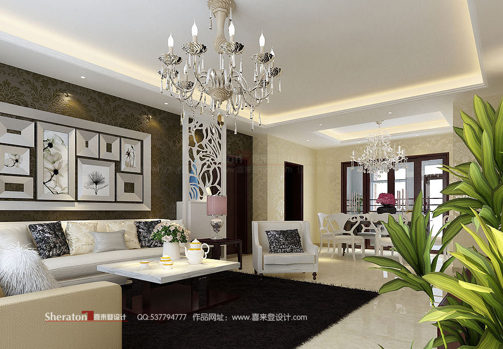 欧式 复式 客厅图片来自用户2746948411在4万元改造160平江山帝景51的分享