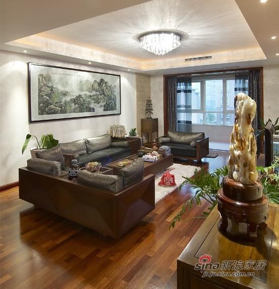 中式 三居 客厅 高富帅图片来自用户1907658205在【高清】9万营造107平新中式儒雅居29的分享