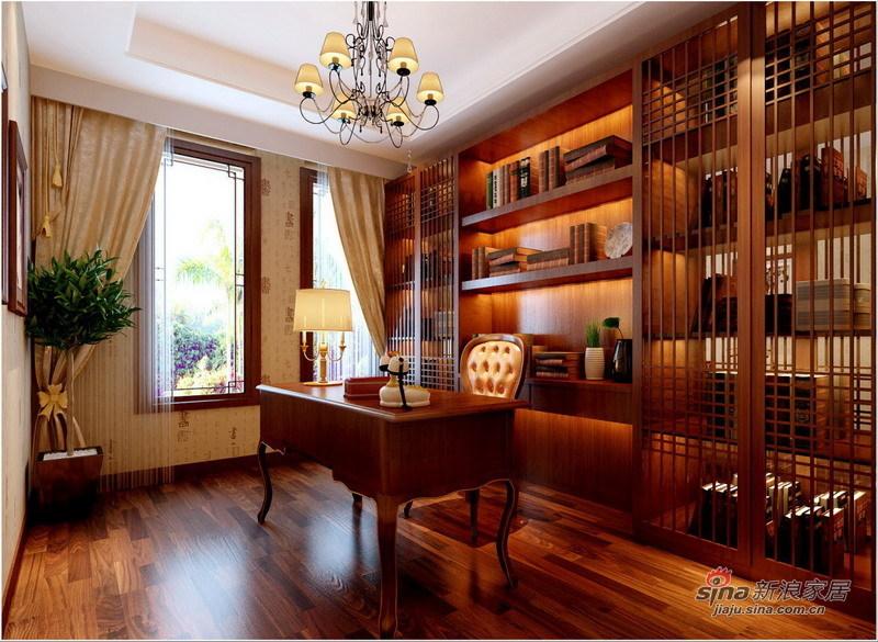 中式 别墅 书房图片来自用户1907659705在260平中西结合庄重优雅别墅设计67的分享