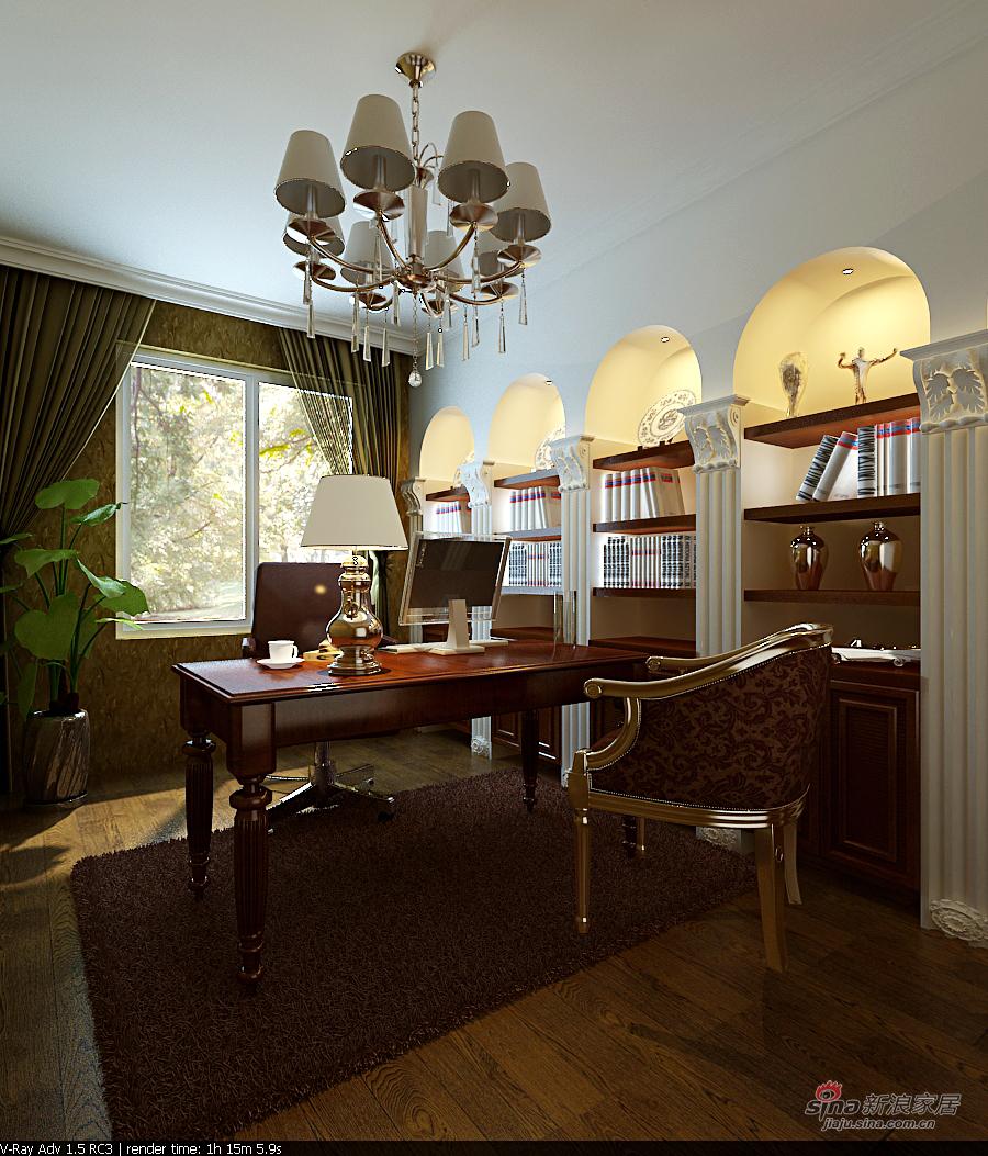 欧式 别墅 书房图片来自用户2746869241在龙发装饰-佳地园-欧式80的分享
