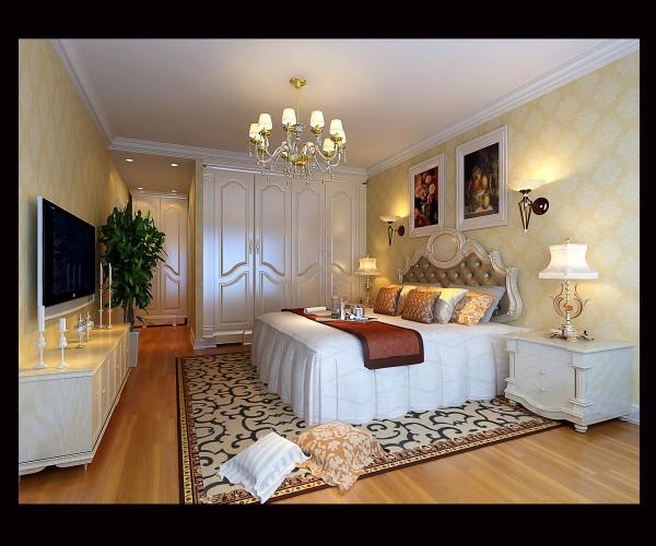 主卧室:主卧室以暖色调壁纸为主,床头背景用两壁灯装饰,米色墙面搭配白色混油家具,这样整个色调温馨,舒适。。。