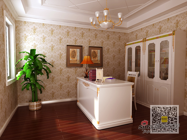欧式 三居 书房图片来自用户2746869241在140平三居室简欧风格装修设计案例94的分享