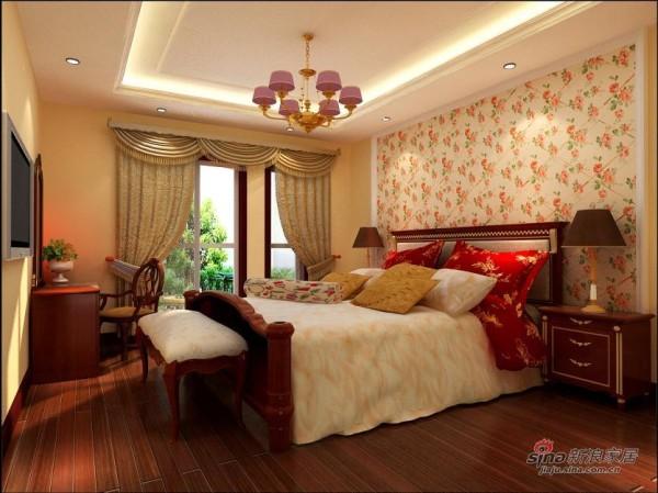 床头碎花壁纸装饰,增添了些新意
