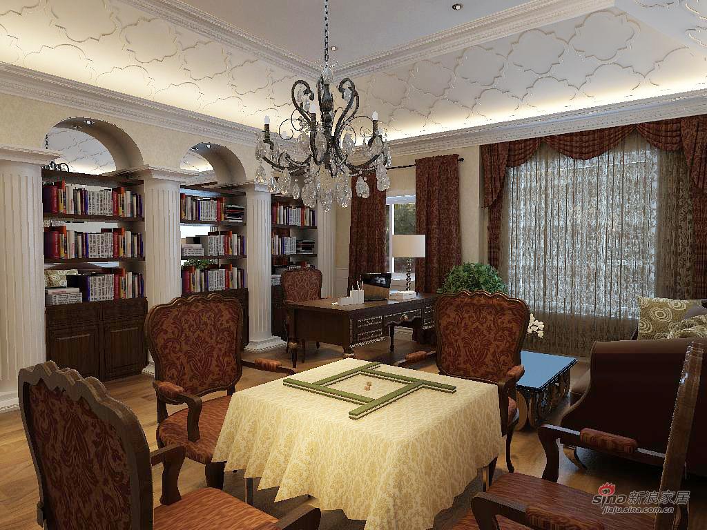 欧式 别墅 书房图片来自用户2746948411在别墅的欧式美41的分享