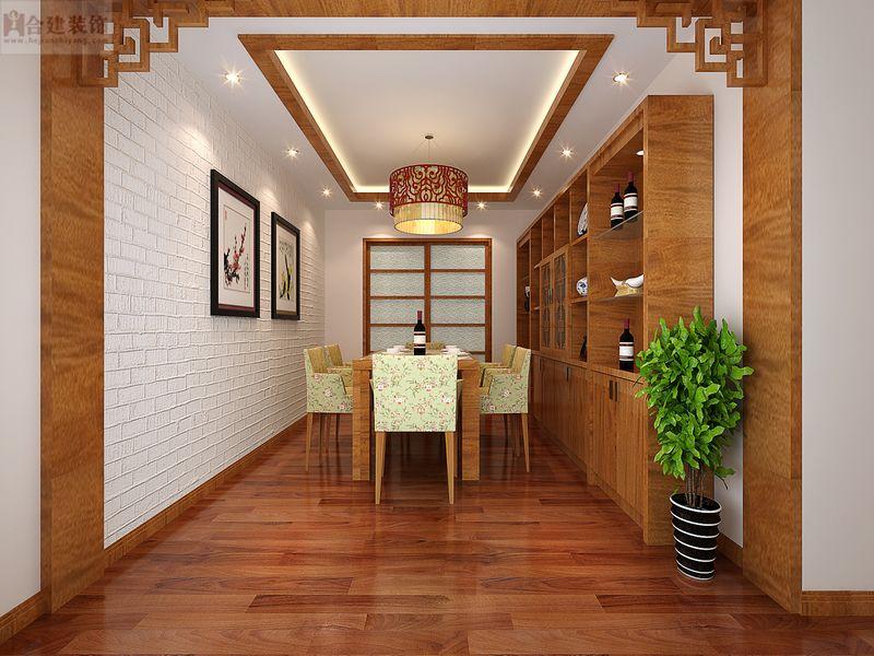 新中式 舒适 高富帅 大气 尊贵 中式 国风 餐厅图片来自北京合建装饰在喜人的新中式大三居的分享