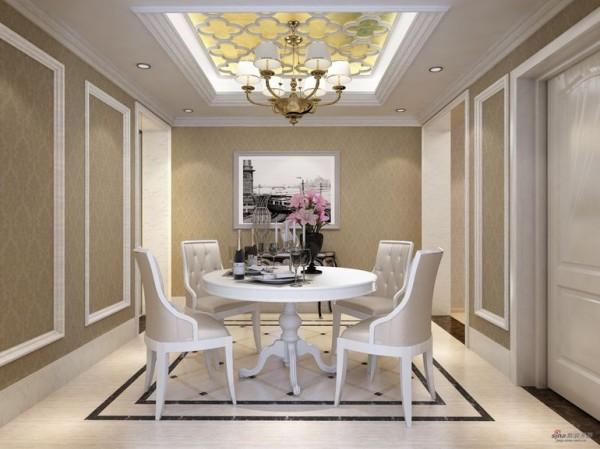 圆形餐桌,吊顶则采用长方形