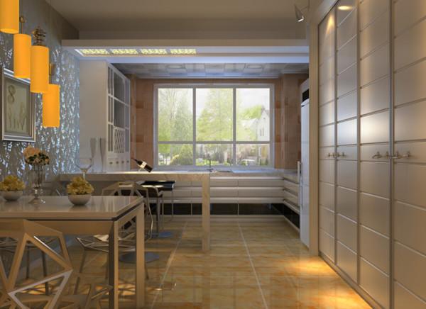 设计理念:开放式餐厅的目的也是为了增加空间感,让房间的视野变得开阔。亮点:墙面的壁纸以及挂画,让就餐气氛变得愉悦。