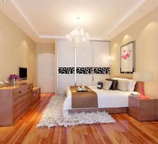设计到顶白色皮纹衣柜增大储物空间,客户原有木制双人床要继续用,床对面增设五屉柜与床颜色一致,同时又与餐厅餐椅同色调形成连线空间。