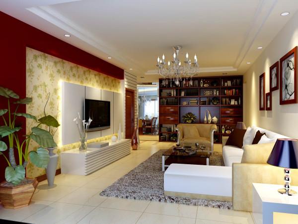 客厅大气、简约、沉稳,采用了抛光瓷砖、壁纸、水晶灯饰等高档材质。没有过多累赘复杂的造型,体现了主人的内蕴品性。乳白色的布衣沙发、红樱桃色的实木家具,稳重又不失简约。