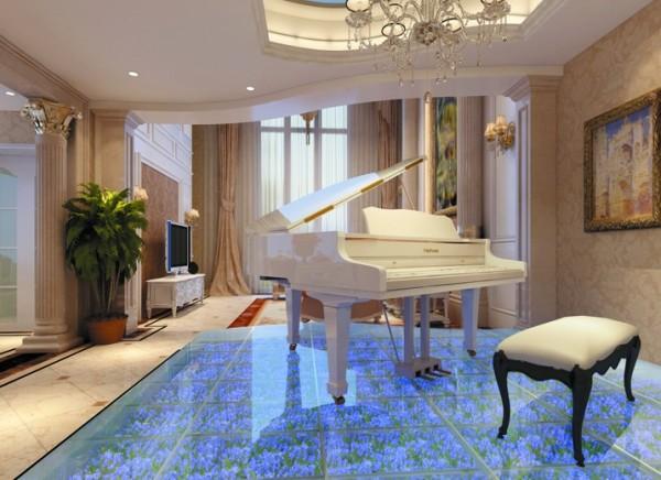 设计理念:钢琴区做的地台使钢琴区与客厅区分开,在整个空间中增加了一丝浪漫气息。