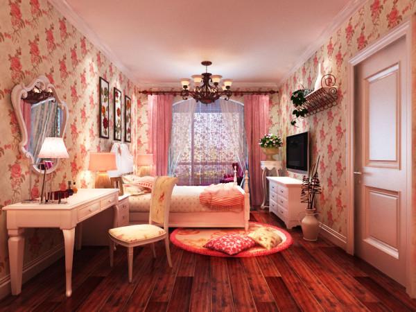 主卧室:粉嫩的卧室融合了业主一颗浪漫童真的玻璃心。