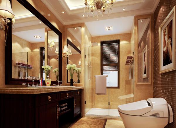 客卫借用储物间一部分 的空间,同时将淋浴房两侧墙体补齐做镜面造型,利用灯光等软辅助让视野更为开阔。合理的干湿分隔,让空间用起来舒适自如。整面的马赛克,让空间不显单调。