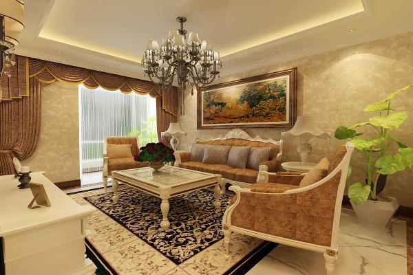 设计理念:简单的沙发背景由一幅画来完成,它简约不简单,作为陪衬,不需要出挑,。 亮点:这种简欧造型空间配以生机勃勃是的绿色植物,更显雅致大气。
