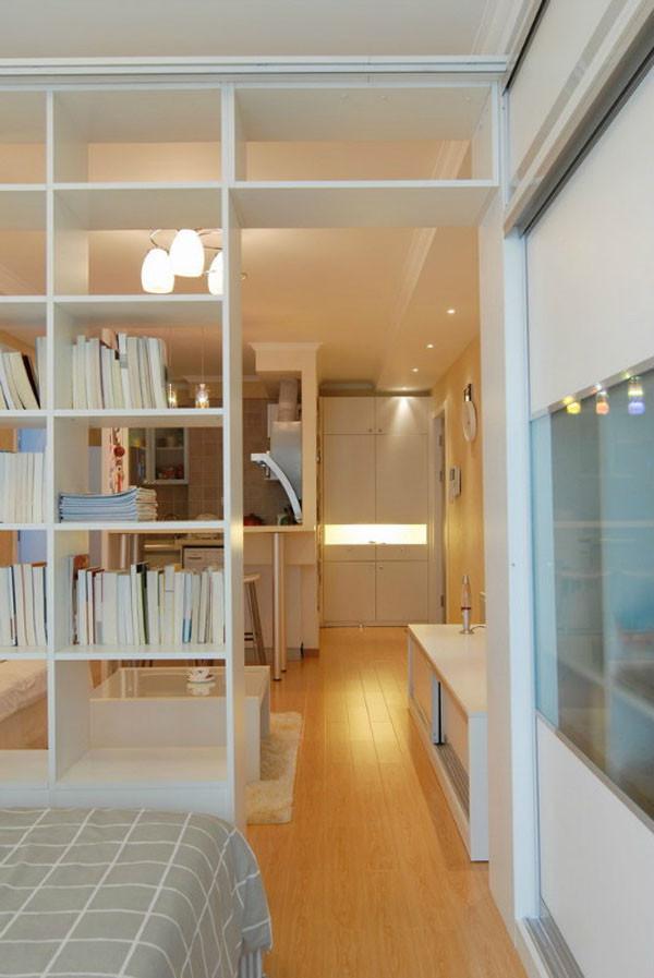 媒体村小区-现代简约-一居室-装修案例设计说明——书架隔墙