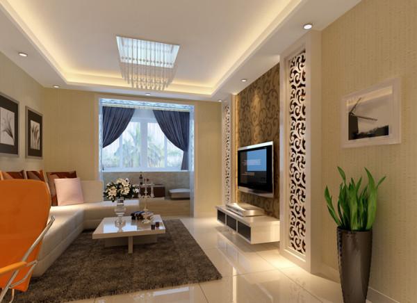 简约温馨,米色墙面营造整体温馨舒适,地台造型及柜子充分增加收纳储物设计,充分体现小户型的精致。