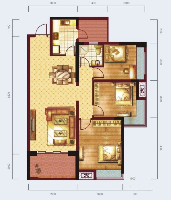 3室2厅1卫1厨,108.00㎡