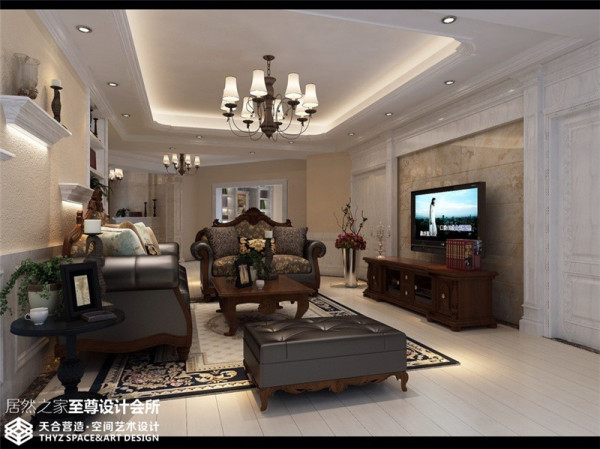 客厅作为待客区域,一般要求简洁明快,同时装修较其它空间要更明快光鲜,通常使用石材和木饰面装饰。总体而言,美式风格的客厅是宽敞而富有历史气息的。