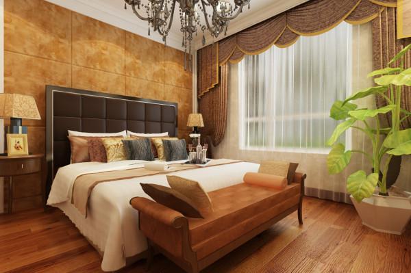 设计理念:卧室是主人待的最久的空间之一,舒适颜色搭配符合客户审美的家具足矣。 亮点:舒服的床头背景,柔软、大气集一身,卧室要的就是舒适、整洁。