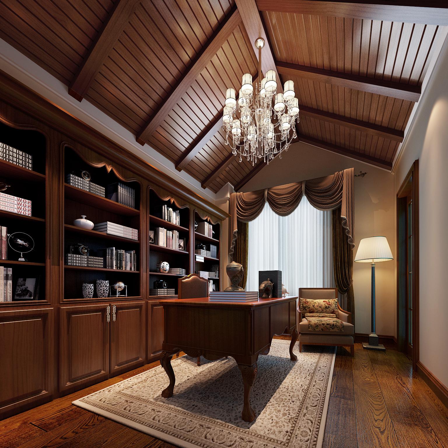 美式风格 装修效果图 别墅装修 别墅 实创装饰 实创 美式乡村 美式 旧房改造 书房图片来自北京实创装饰在42万装修240平米美式风格的分享