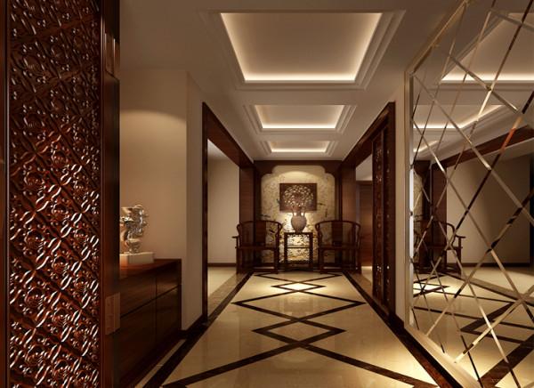 设计理念:隔景手法曲径通幽,别有洞天。 亮点:典雅的木质搭配高现代的镜面想结合,更用于整体空间的讲究。