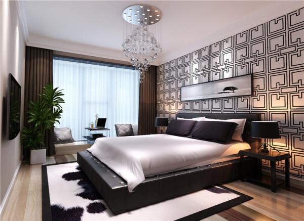 素色的格调淋漓尽致的展现了卧室的质朴、舒适、干净。奶牛纹理地毯,皮质软包床,花格墙面,将北欧的风情表现的淋漓尽致。