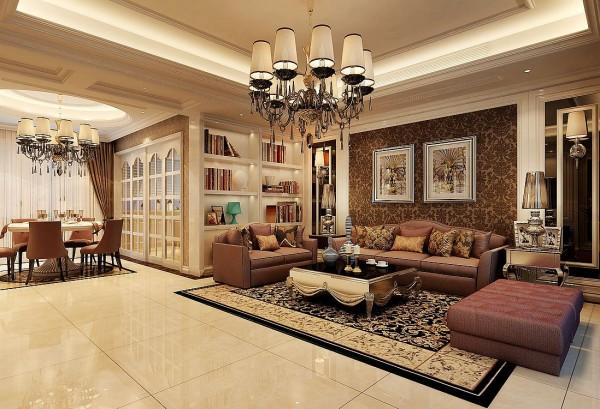 设计理念:灰镜的运用,咖啡色墙纸的点缀,白色的地面让整个客厅层次感分明,空间具有灵动性   亮点:色调的协调,欧式奢华的家具,水晶灯的搭配,让整个空间时尚而大气
