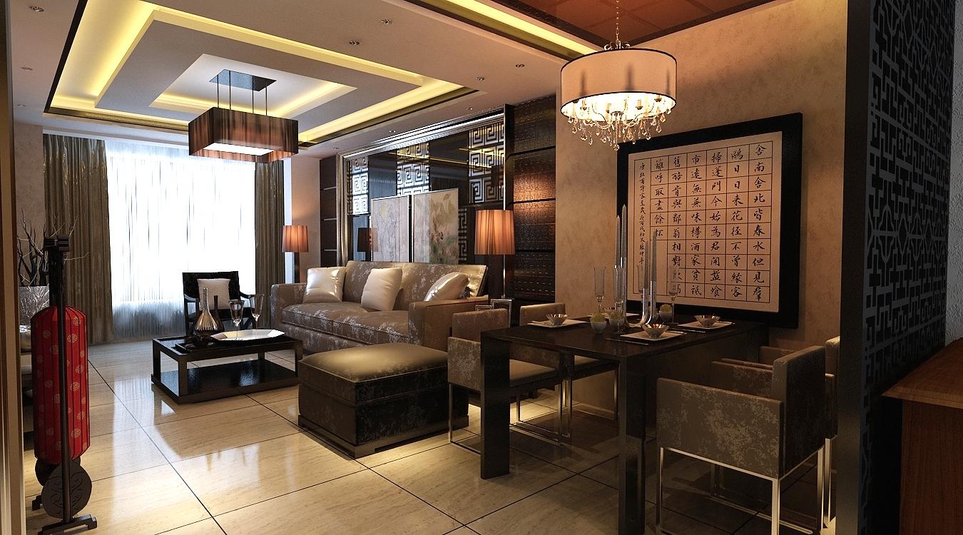 现代中式 三居 客厅 餐厅 餐厅图片来自百家装饰-小敬在保利康桥的分享