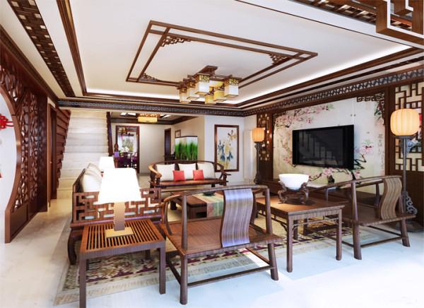 设计理念:咏梅之烈骨,突出主人处世之道 亮点:淡雅的梅花壁纸装饰背景,高雅又不失低调。让整个客厅突出了一种奢华的唯美。