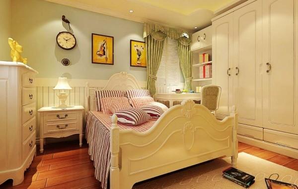 设计理念:儿童房的设计主要以浅蓝色为主,让空间变得动感十足  亮点:白色家具和蓝色墙面的色调搭配,像蓝天白云,让儿童房的空间变得自由而充满童趣