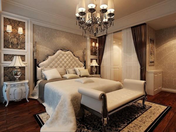 设计理念:高靠背的罗马欧式床,布艺帘子的搭配,让卧室的对比更强烈,更能突显出空间感和层次感。  亮点:咖啡色软装搭配,浅色的床品,深色的实木地板,形成了一副协调的画面,大气的同时又不失温暖