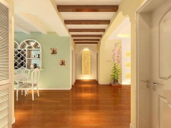 实木的扣顶板,添加居室的自然气息