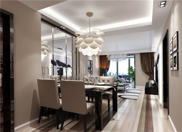 白色的墙壁、黑色的餐桌,配上叶片吊灯,很有情调。