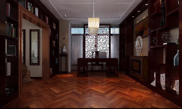 中式风格 别墅装修 四居室装修 收纳 书房图片来自上海实创-装修设计效果图在御沁园别墅中式风格的分享