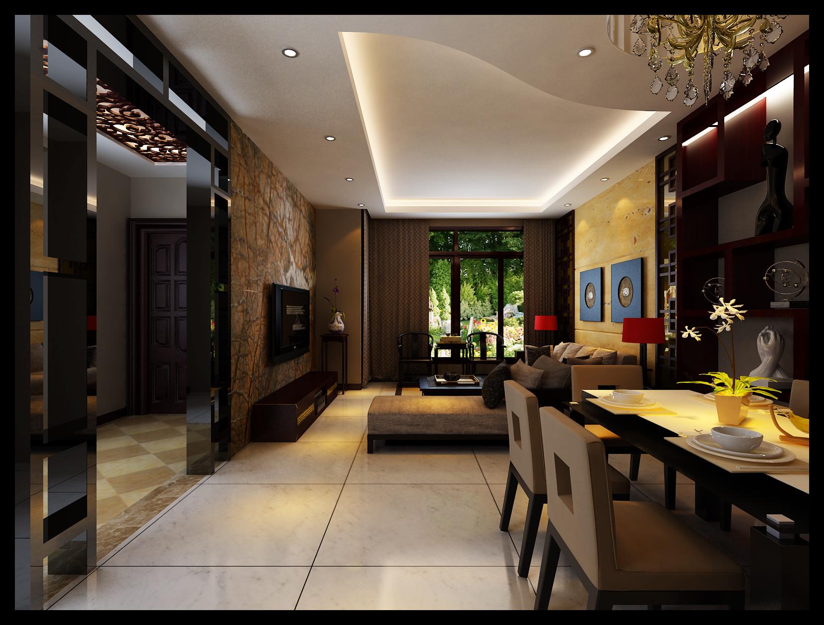 中式风格 别墅装修 四居室装修 收纳 客厅图片来自上海实创-装修设计效果图在御沁园别墅中式风格的分享