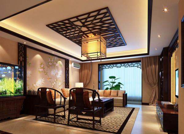 客厅映入眼帘的就是浓浓的中国风。红木家具、格栅吊顶、以及背景墙,将主人的品味和修养表现的淋漓尽致。