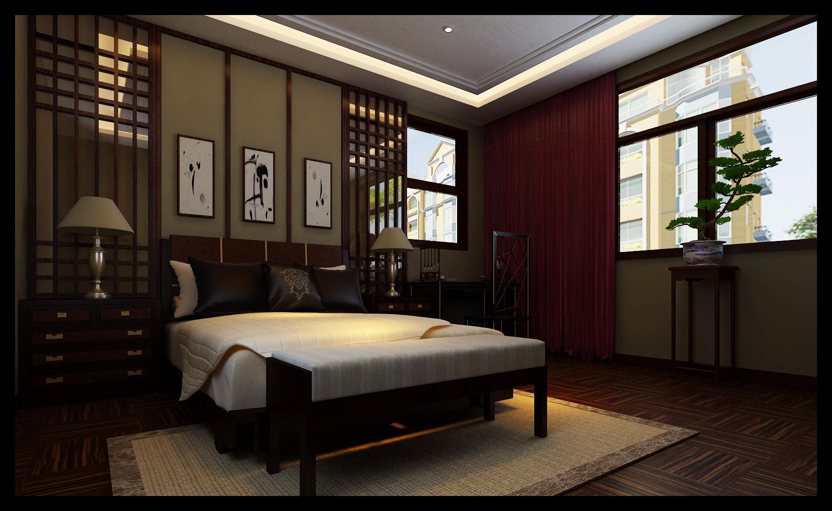 中式风格 别墅装修 四居室装修 收纳 卧室图片来自上海实创-装修设计效果图在御沁园别墅中式风格的分享