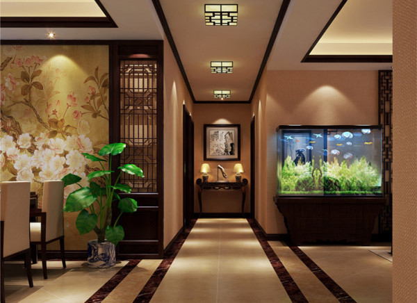 墙壁地面均采用暖色调,配上灯光的渲染,使得居室分外温馨舒适。客厅的浴缸很好的体现了房屋的风水,增添了灵气。