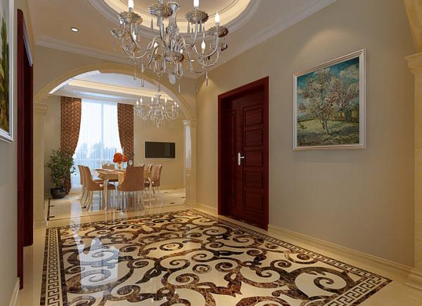门厅地面的石材拼花很显大气,奢华。很自然的作为客厅和餐厅的桥梁。