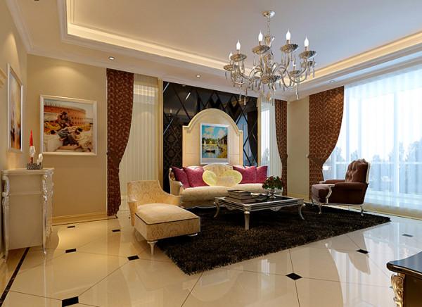 客厅沙发墙玻璃石材与壁纸的搭配体现出欧式风格的家居特点。