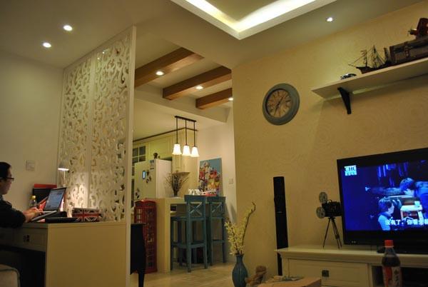 朝阳金蝉南里小区,52平米一居地中海风格设计案例——客厅
