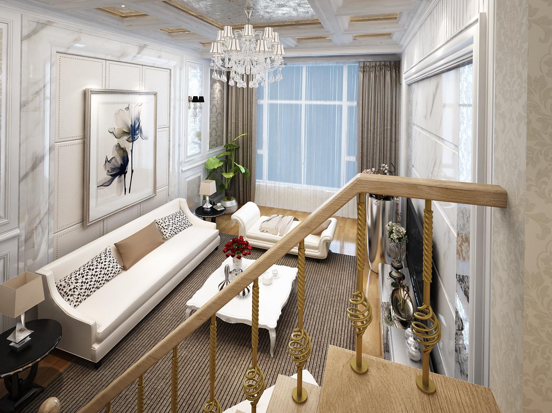 复式 三居 别墅 简约 客厅图片来自西宁实创装饰在170平复式现代简约简单明亮的分享