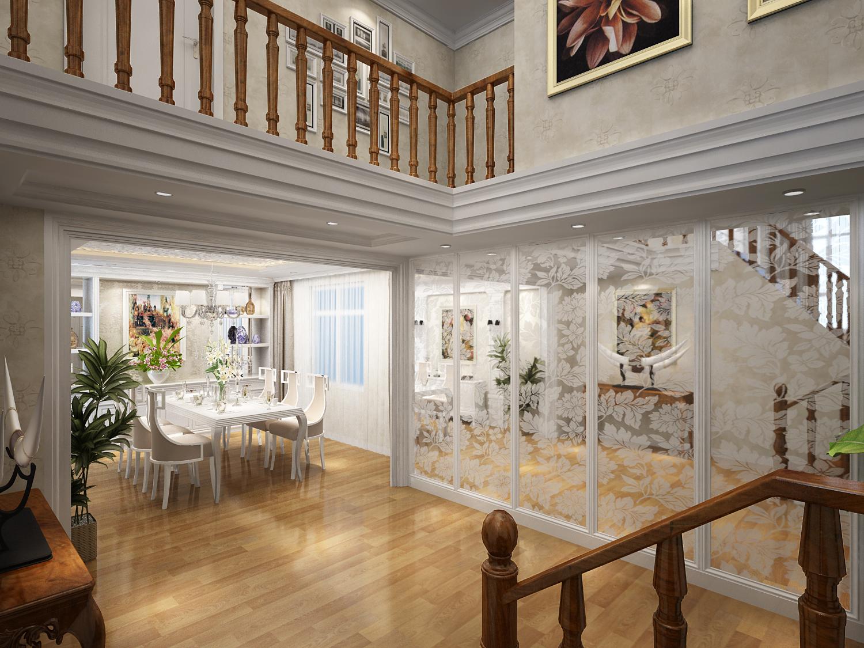 复式 三居 别墅 简约 餐厅图片来自西宁实创装饰在170平复式现代简约简单明亮的分享