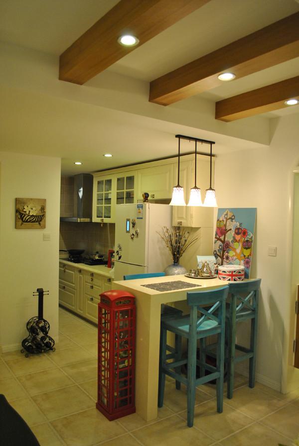 朝阳金蝉南里小区,52平米一居地中海风格设计案例——厨房