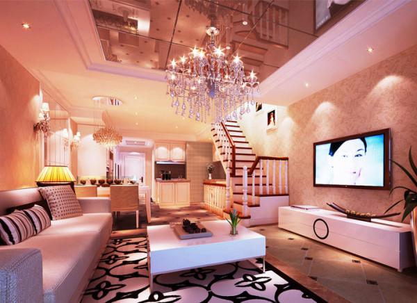 暖色的墙地面配上柔和的灯光,让空间温馨舒适。空间划分很明确,既没有浪费,又很和谐。天棚加以镜面感觉。更时尚。