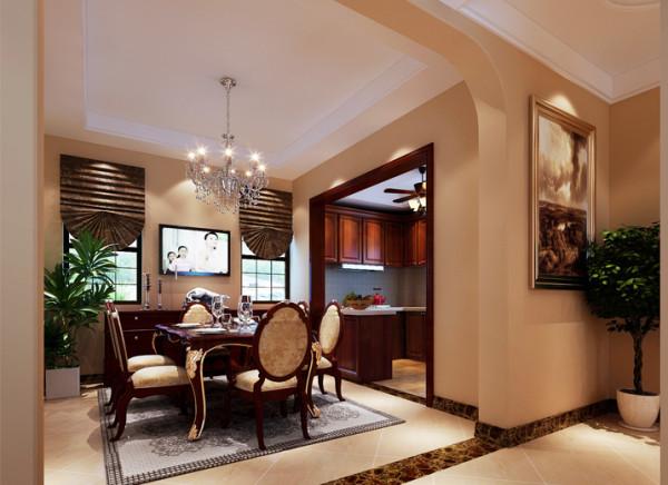 换个角度看厨房餐厅,色调典雅。敞开式厨房、拱形门造型、两扇窗户,增添了空间的通透性,窗帘造型优雅,可以看出主人对生活品质的追求和美感。