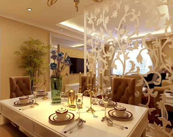 餐厅以欧式简约风格为主调,吸取了文艺复兴时期的欧式元素,既不过分张扬,而又恰到好处地把雍容典雅之气渗透到每个角落,既突出房子本身的自然优势又适当彰显业主的个人品味。